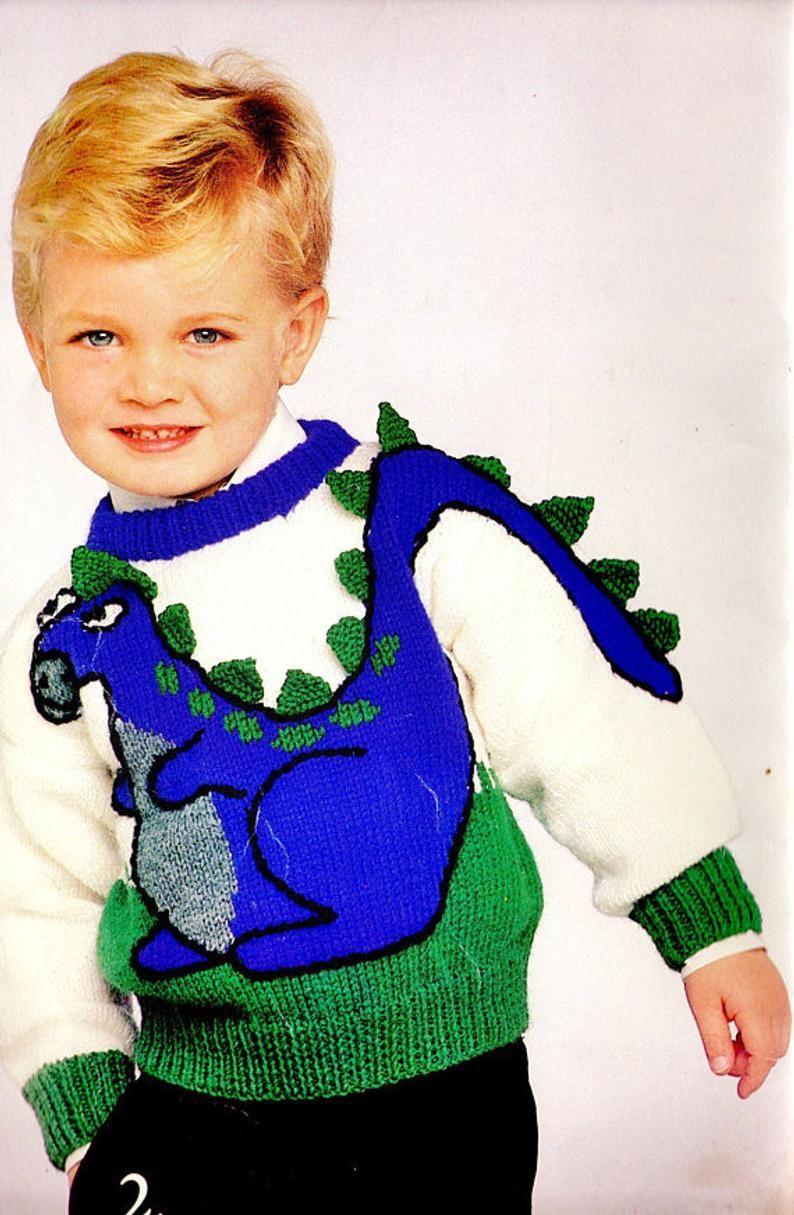 Vintage Knitting Pattern Kids Boys Dinosaur Sweater Pdf Instant