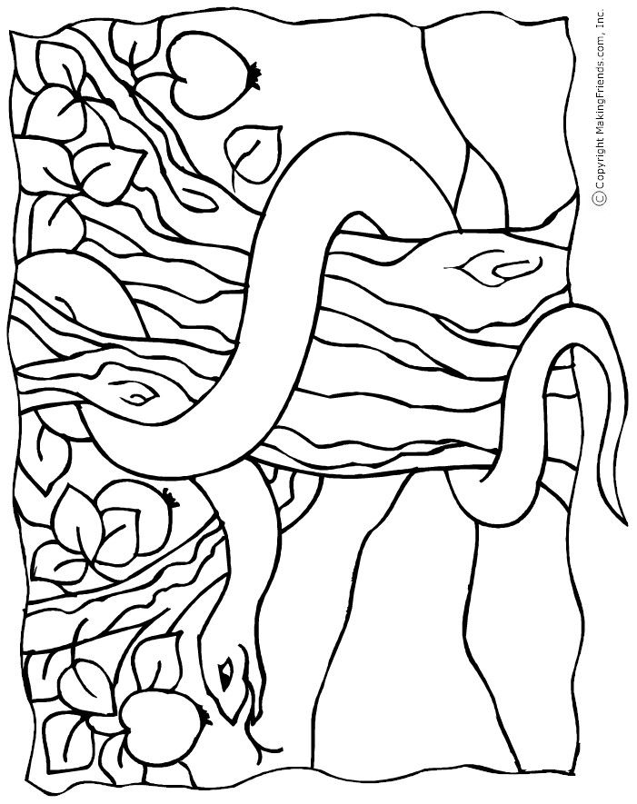 Snake in the garden of eden colouring page the creation for Garden of eden coloring page