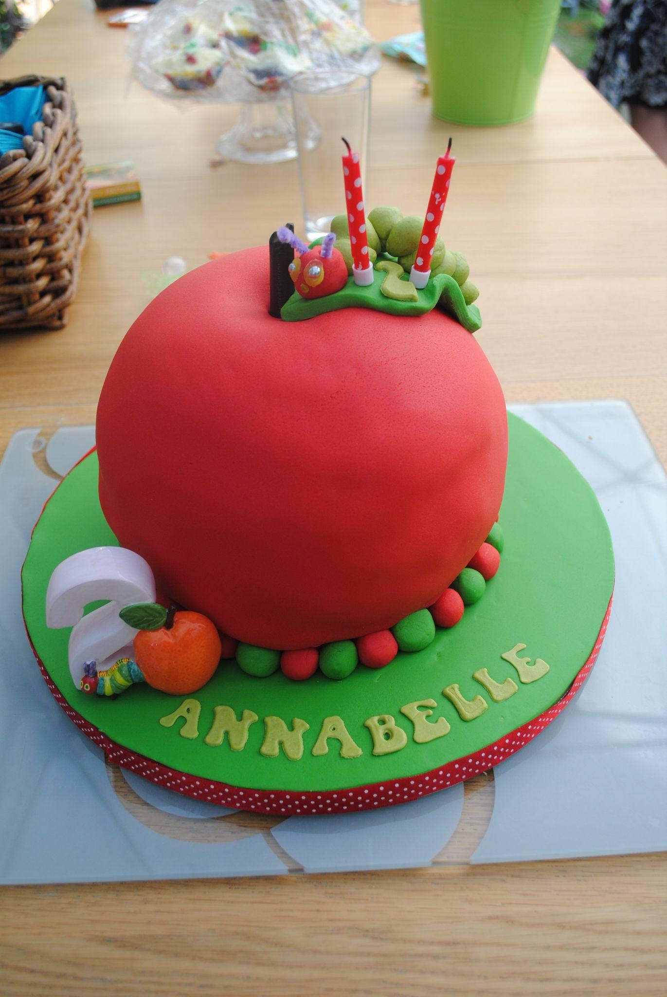 Sensational Hungry Caterpillar Apple Shaped 2Nd Birthday Cake Birthday Cake Personalised Birthday Cards Veneteletsinfo