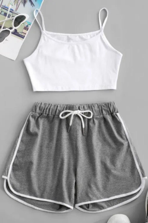 Crop Cami Top And Piping Shorts Set - Gray