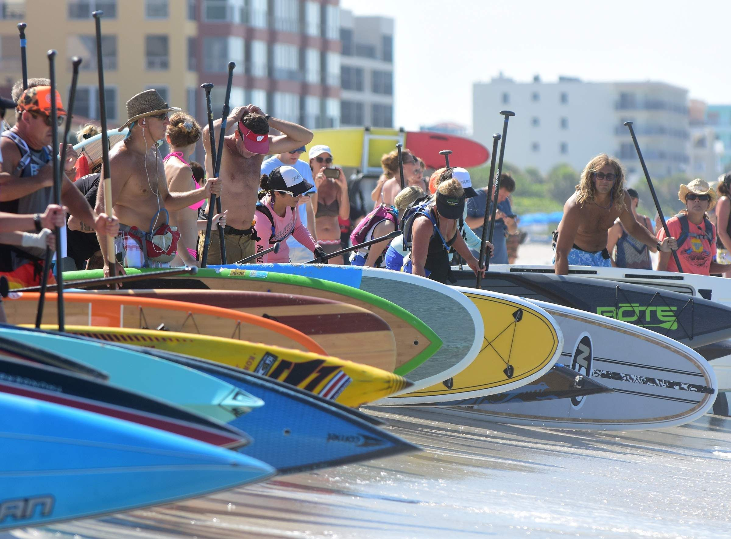 Paddleboarders Rendezvous Off Pinellas Coast Madeira Beach Clearwater Beach Treasure Island