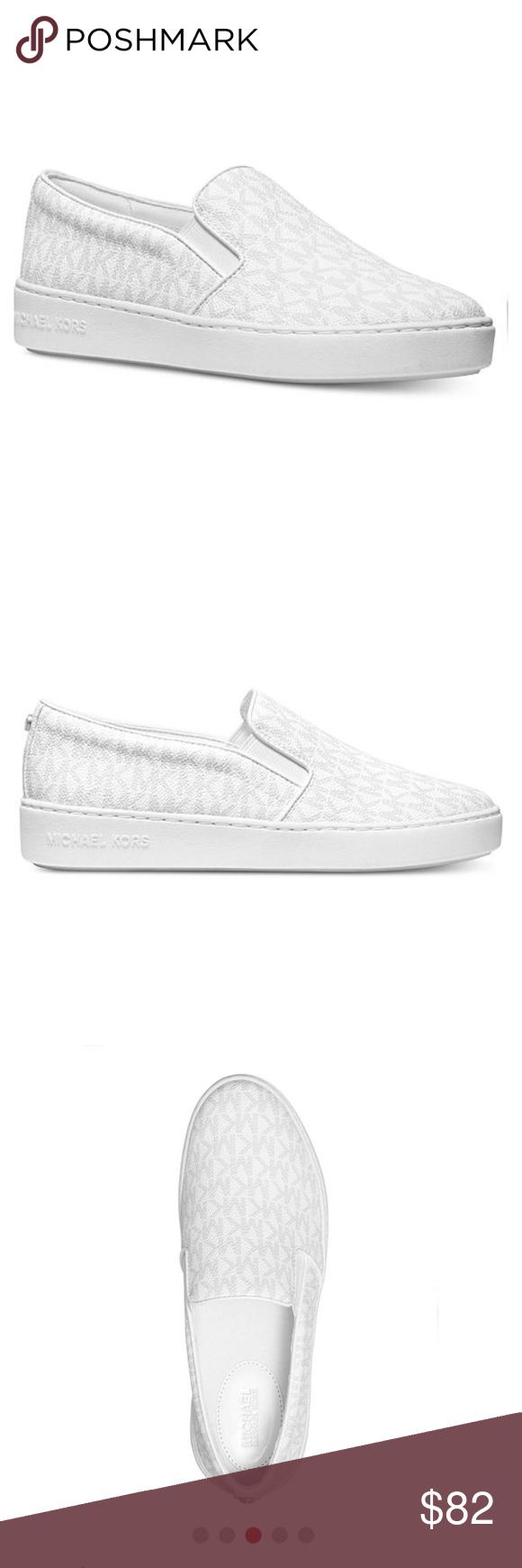 Michael Kors Keaton Slip-On Logo Sneakers in White Michael Kors Keaton Slip-On L…