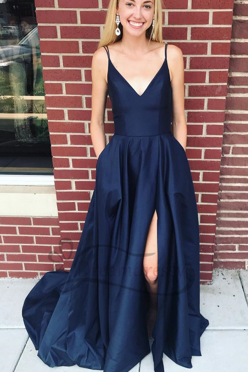 Double straps navy blue long prom dress with side slit tina