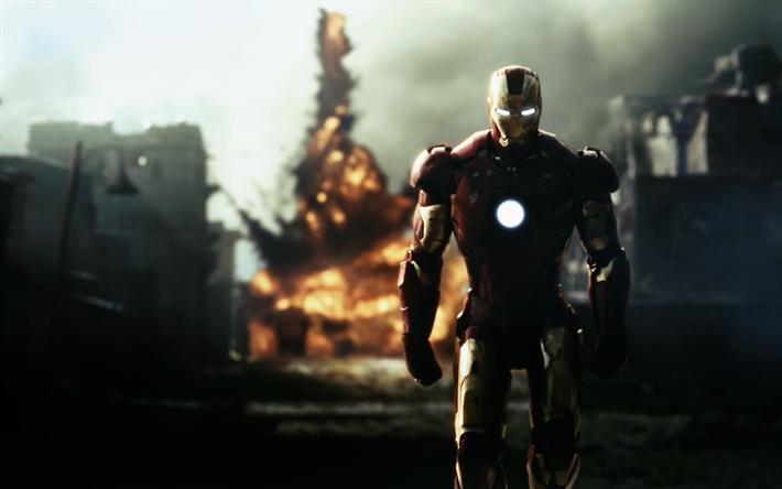 Download imagens Homem De Ferro, arte, super-heróis, desfoque, IronMan