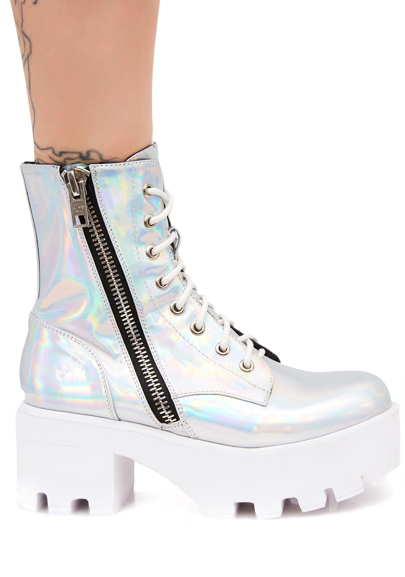 aa1f49fe576 Current Mood Chiller Holographic Platform Boots