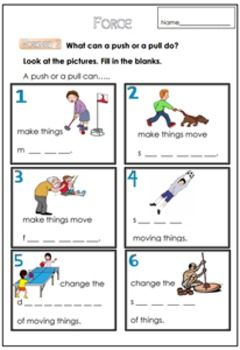 Force Worksheet For G 1 3 With Images Science Lessons