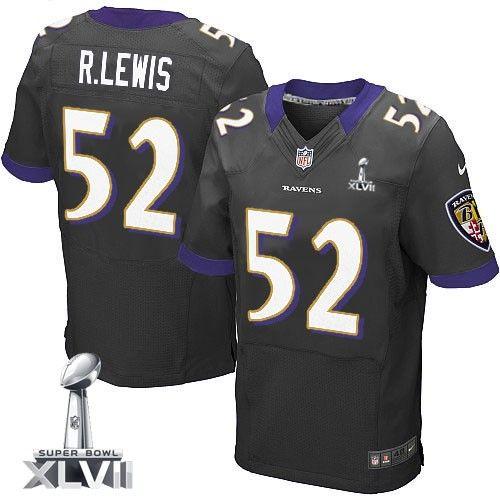 Mens Nike Baltimore Ravens  52 Ray Lewis Elite Black Alternate Super Bowl  XLVII NFL Jersey 74ea62109