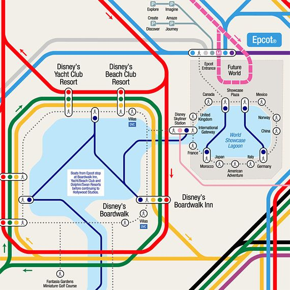 Walt Disney World Transportation Map in Metro Style | Disney ...
