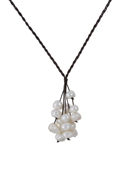 Braided necklace with Cluster Baroque Fresh Water White Pearls