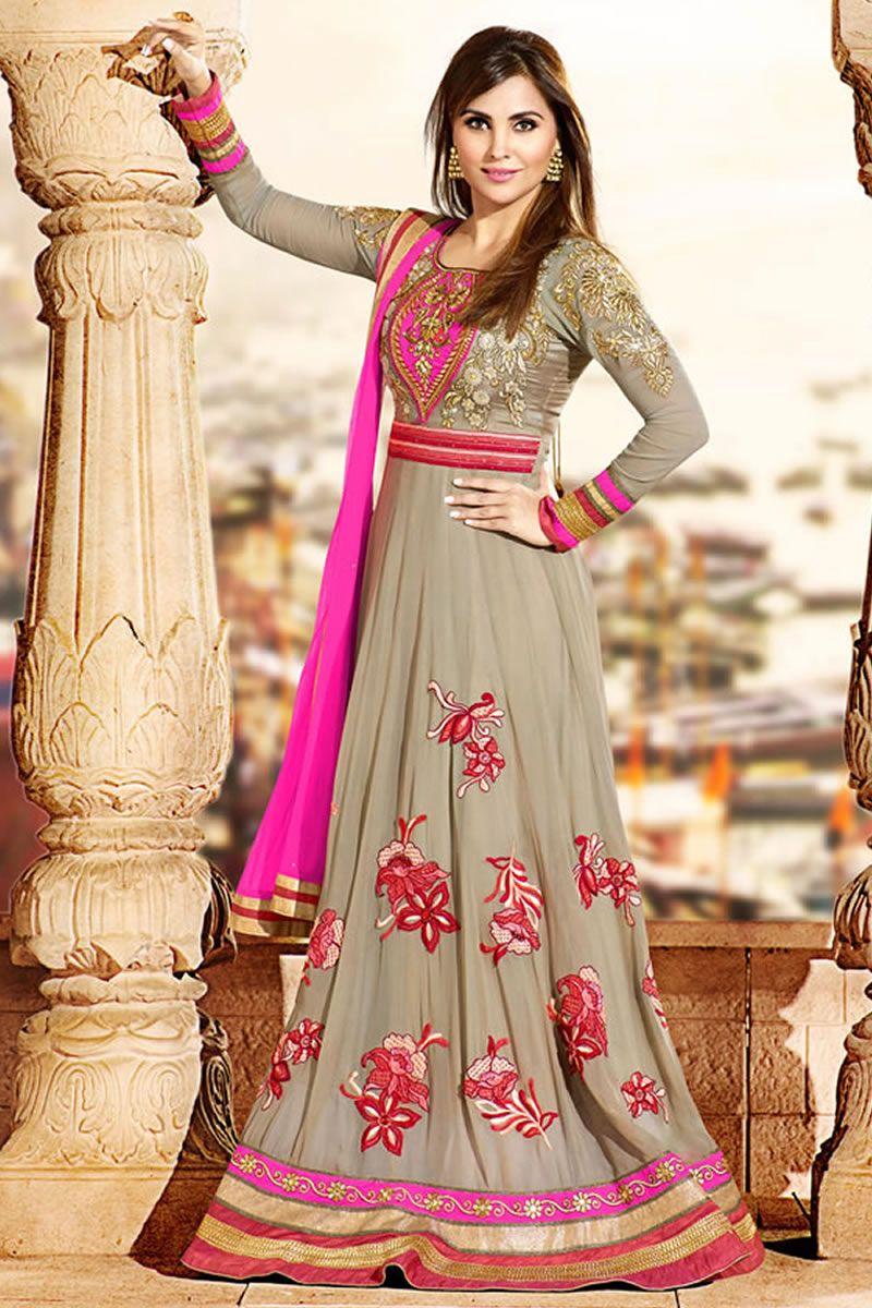 fa34c3aecf lara dutta grey salwar kameez | lara dutta suits | Anarkali suits ...
