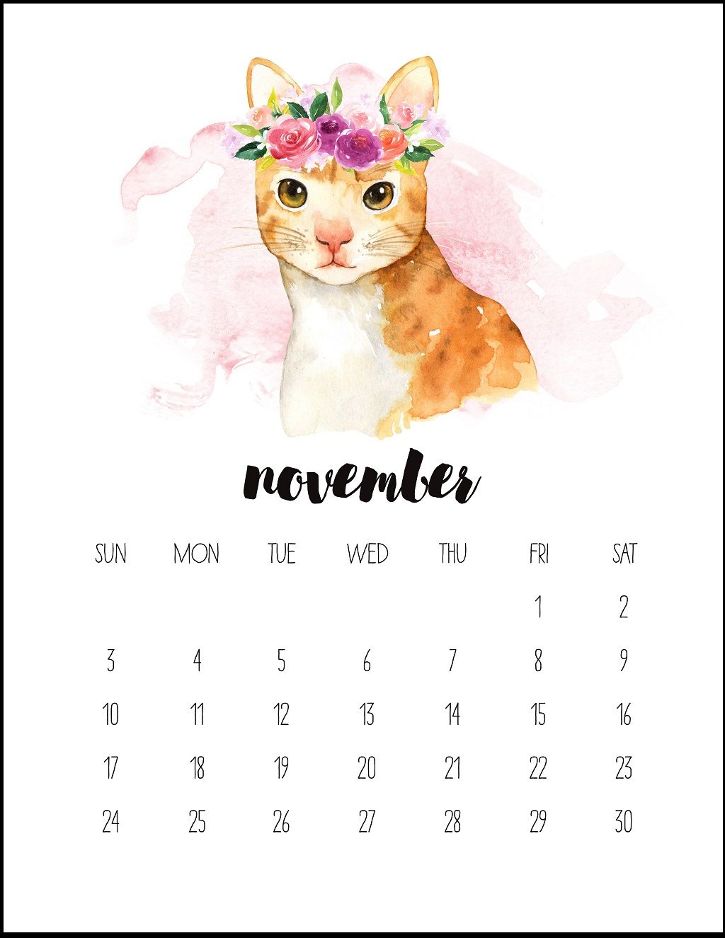 Watercolor November Printable Calendar