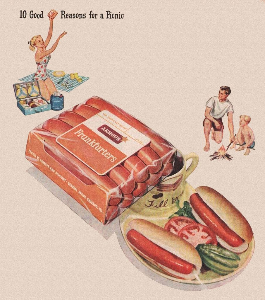 Armour hot dogs 1948. Pop worked for Armour's when they first came to Columbus in 1951.