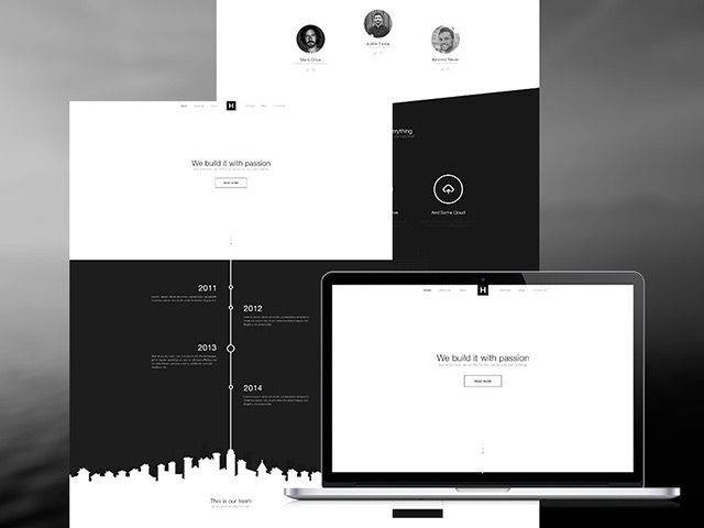 B W Website Template Psd Free Website Templates Free