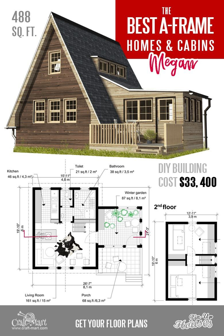 Cool A-frame Tiny House Plans (plus tiny cabins and sheds) - Craft-Mart in  2020 | A frame house plans, Cottage plan, A frame house