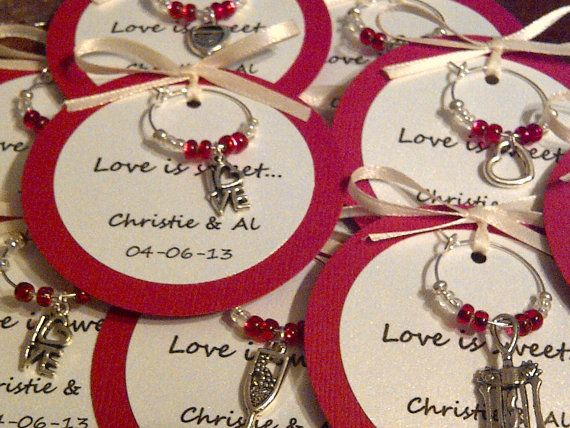 Custom Wine Charm Favors Weddings Bridal Shower Rehearsal
