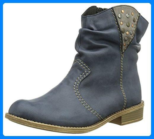 Rieker 72764-14, Damen Halbschaft Cowboystiefel, Blau (denim/dust / 14