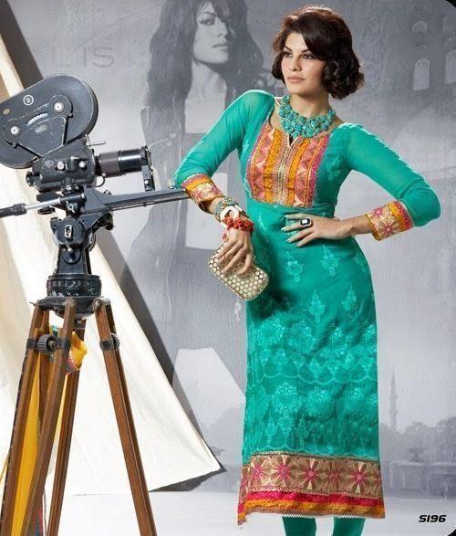 Green Festival Wear Patch Zari Resham Work Georgette SALWAR EHS Kameez Suit #SareeStudio