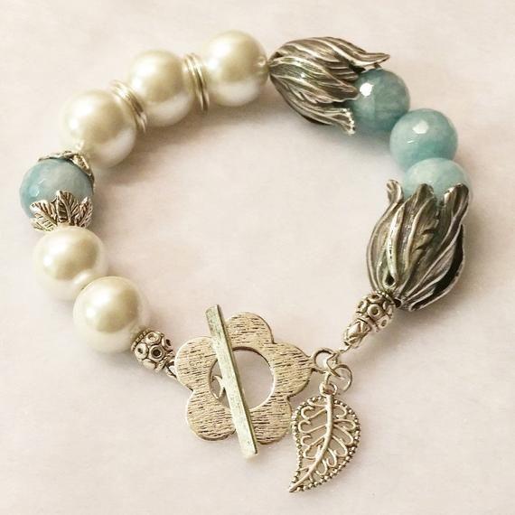 Bijoux de style chic de Boho argent, bracelet bleu de Chunky d'Aquamarine, bijoux de perle, cadeau de vacances pour ses bijoux personnalisés #pearljewelry