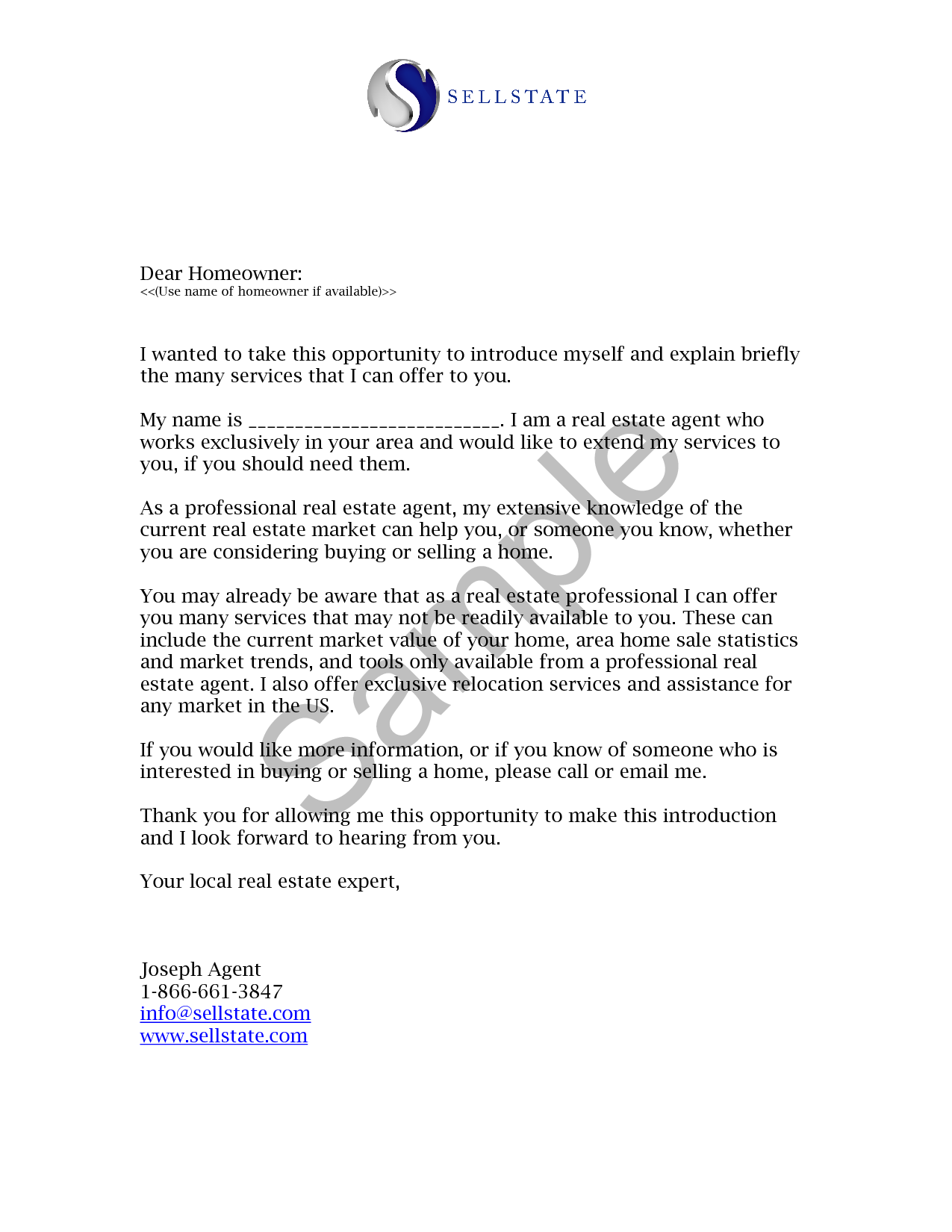 Real estate letters of introduction introduction letter for Covering letter for estate agent job