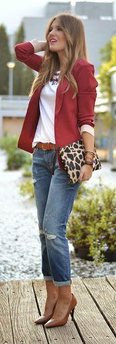Burgundy cool blazer, distressed jeans, white T-shirt, animal print clutch, cognac heels.