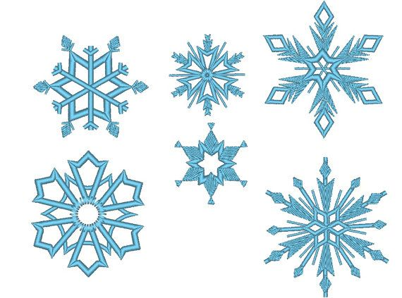 6 Snowflakes Machine Embroidery Design Files Separately Etsy Frozen Embroidery Machine Embroidery Designs Snowflake Embroidery