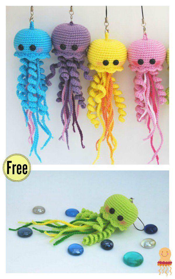 Happy Jellyfish Amigurumi Keychain Free Crochet Pattern | Häkeln ...
