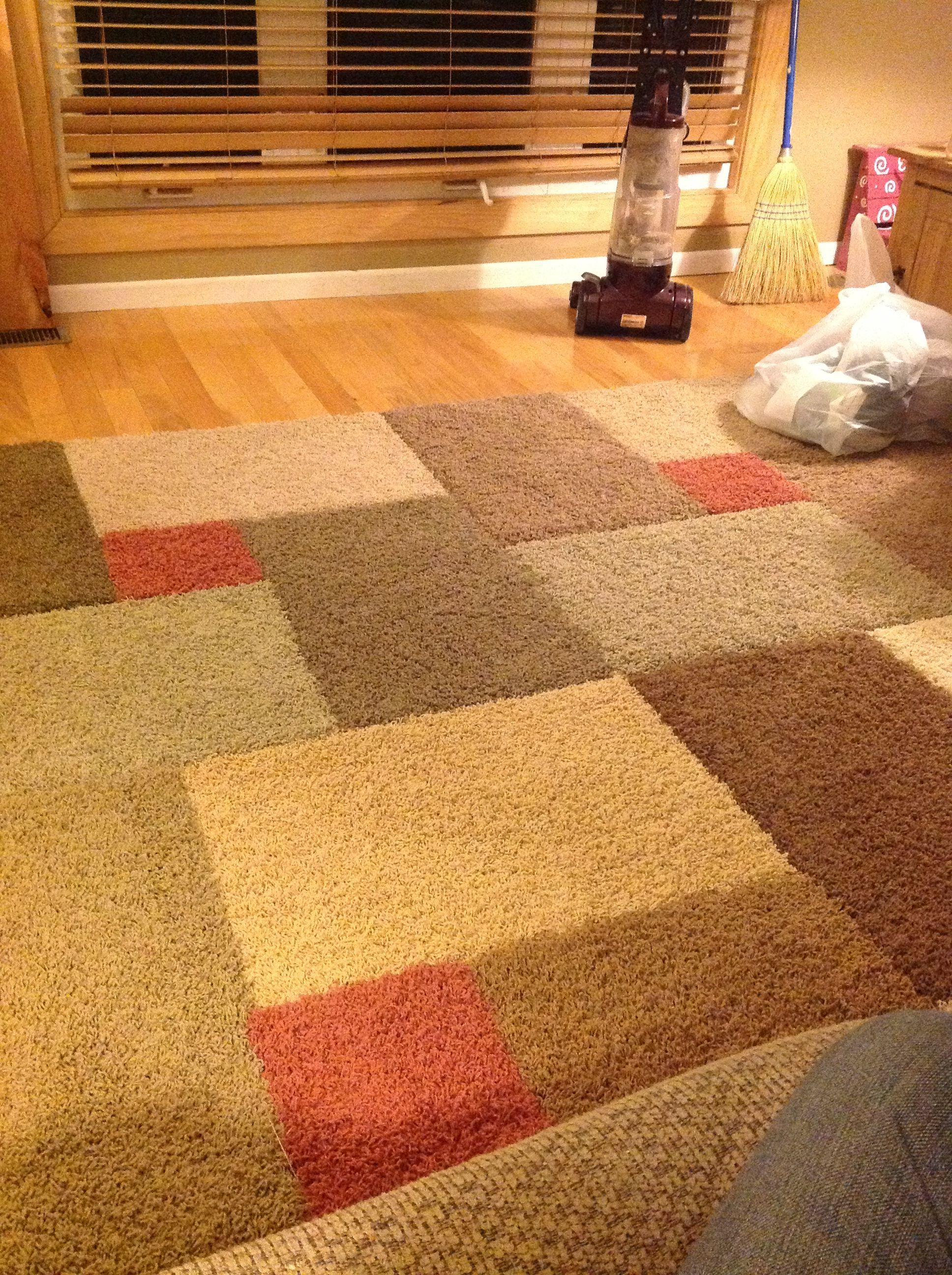 our $20 diy area rug! carpet samples+razor knife+carpet seam tape