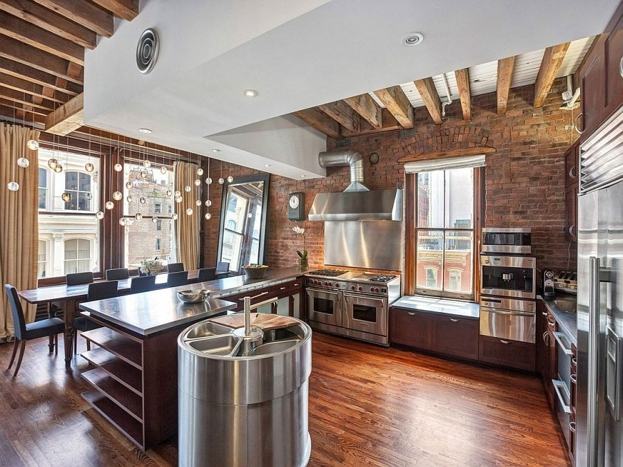 Cozy New York City Loft Enthralls With An Eclectic Interior Wrapped In Brick Loft Apartment Decorating Brick Kitchen Industrial Decor Kitchen