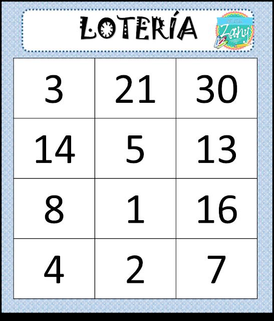 Lotería De Números Del 1 Al 30 Materiales Zany Loterias Para Niños Tabla De Multiplicar Para Imprimir Tabla De Números