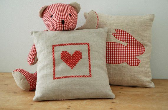 Hand embroidery pillow on natural linen red by chocolatecreative