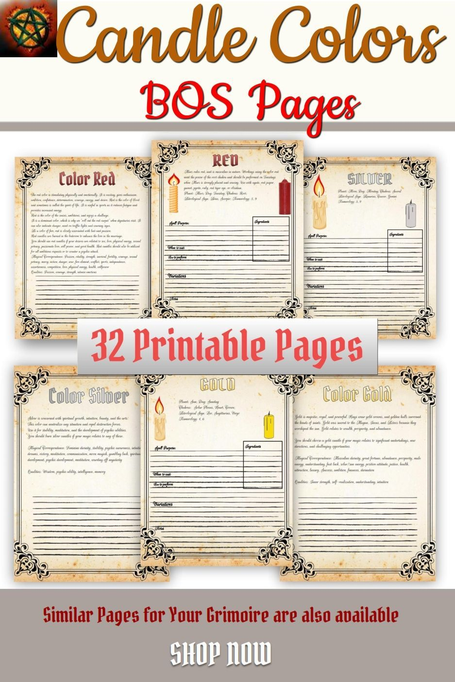 Candle Magic, What do Different Candle Colors Mean, Wiccan Rede- 32 Pages