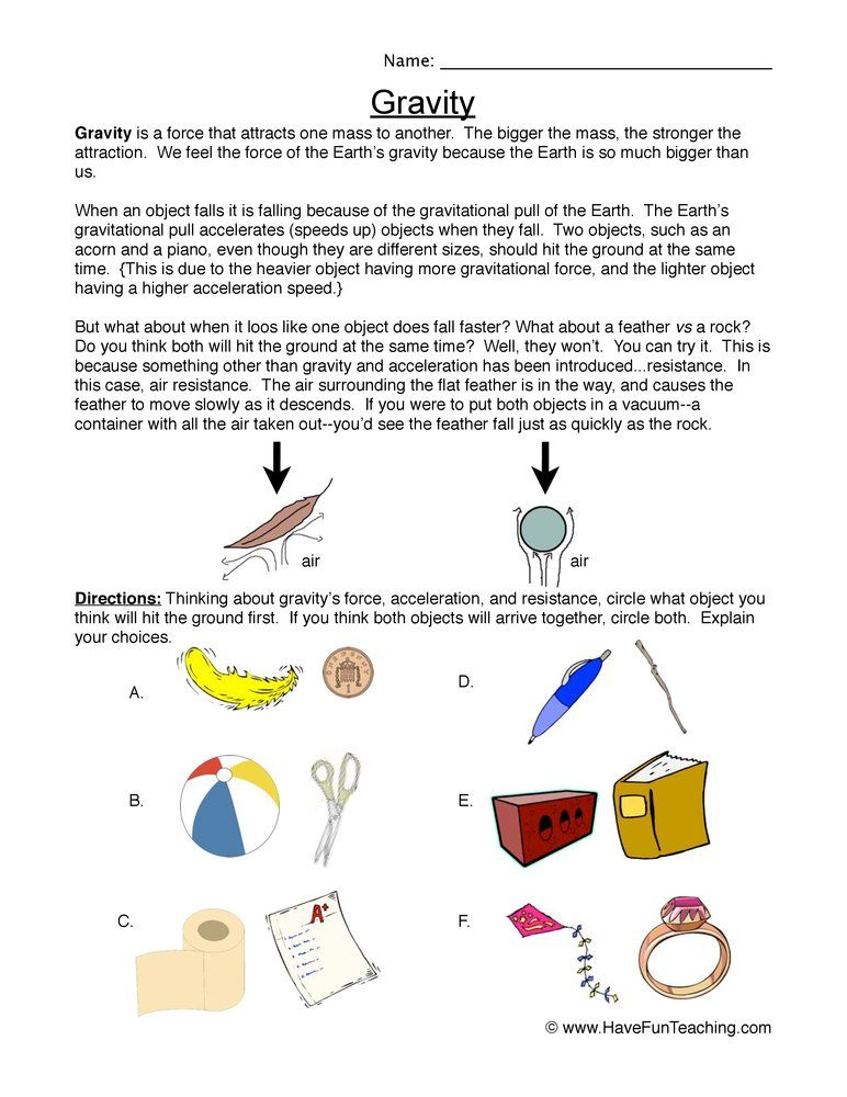Fall Faster Gravity Worksheet Science Worksheets Gravity Worksheet Have Fun Teaching Second grade science worksheets