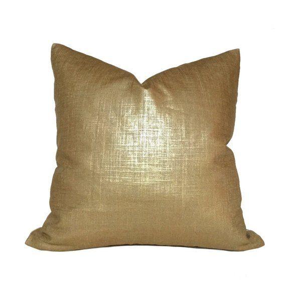 Metallic Gold Glazed Linen Pillow Cover Fits Lumbar 16 18 20 22