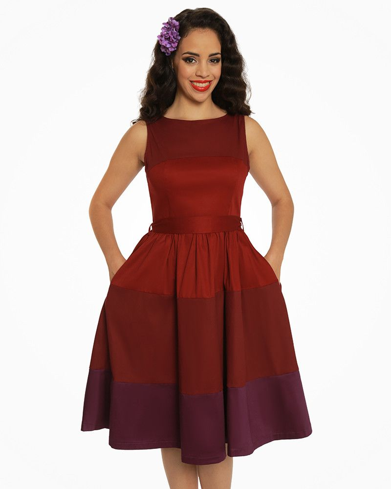 148040b13809  Audrey  Burgundy Striped Swing Dress - New In