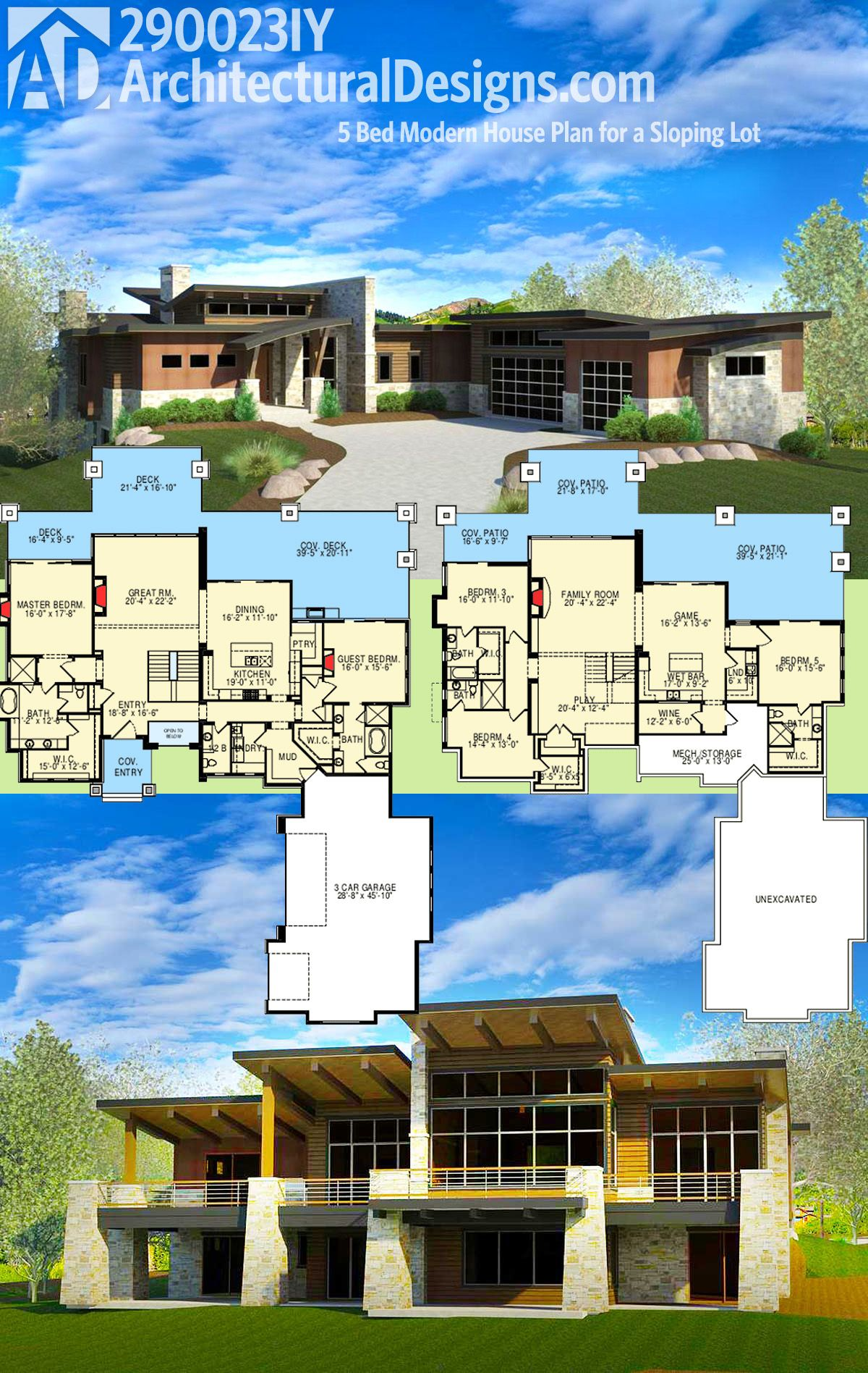 Architectural designs 5 bed modern house plan gives you over 5000 square feet of living and is designed for your rear sloping lot