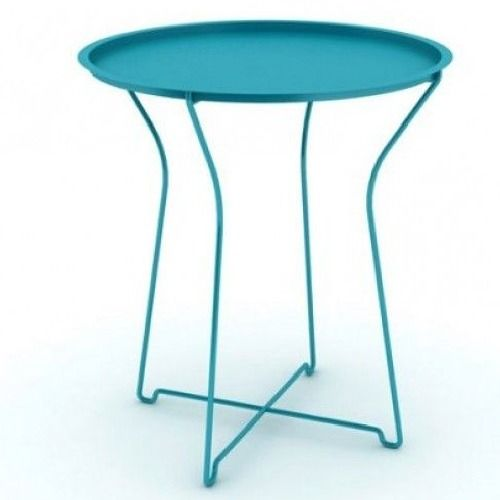 Metal Patio Side Table Blue Modern Indoor Outdoor With Removable Tray Top