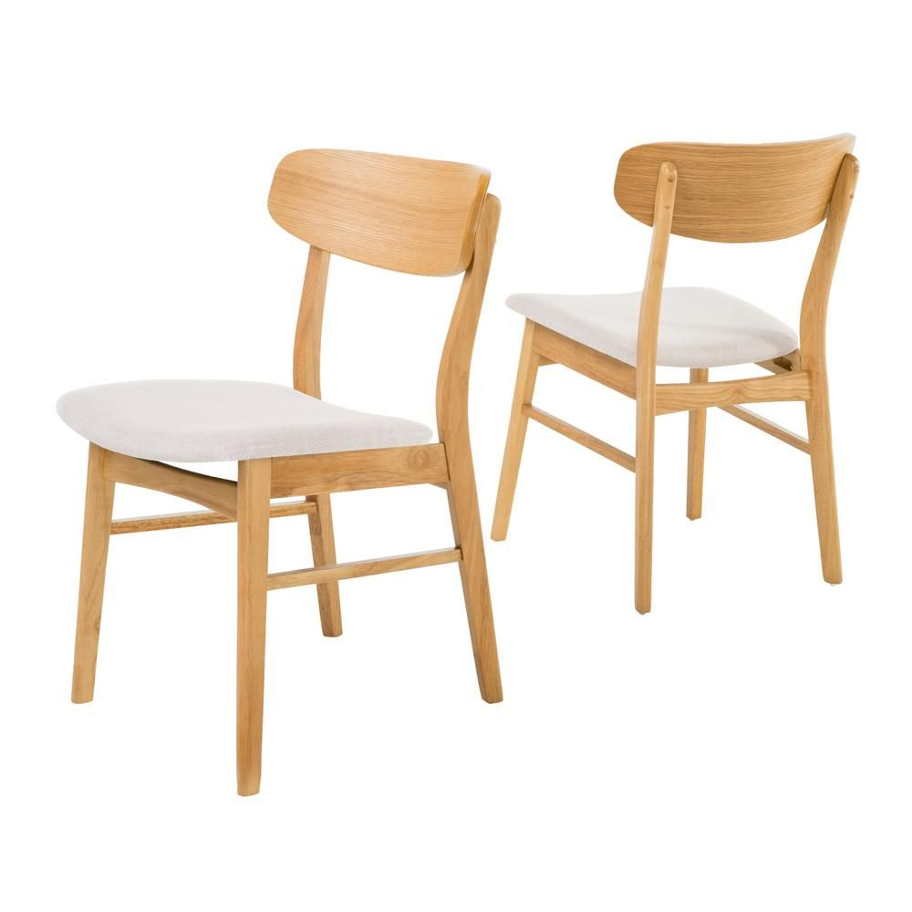 Noble House Lucious Light Beige And Oak Dining Chairs Set Of 2