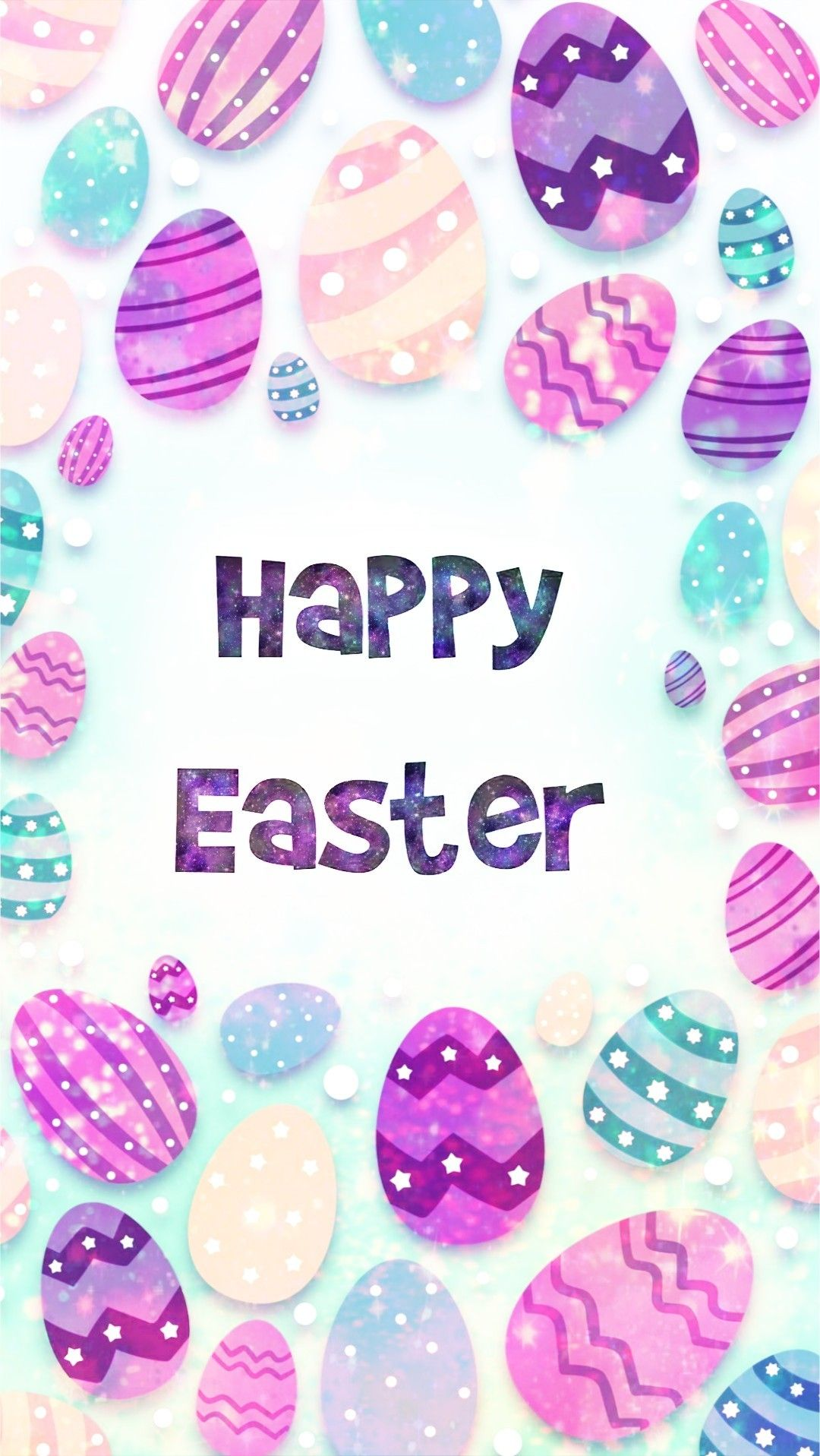 Glittery Happy Easter Made By Me Patterns Purple Glitter