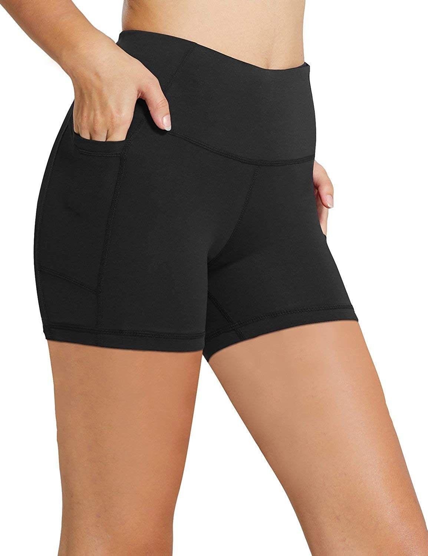 Women S 8 5 High Waist Workout Running Yoga Shorts Tummy Control Side Pockets Black 5 Co18mg3q506 Size X Small Compression Running Shorts Waist Workout Workout Clothes [ 1500 x 1154 Pixel ]