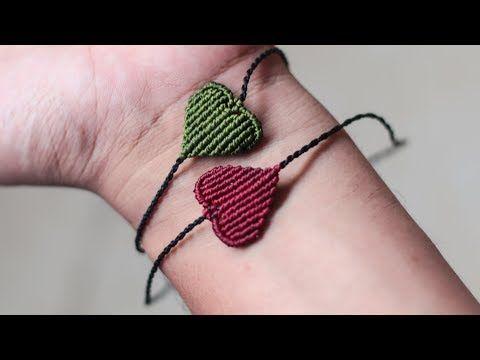 Pulsera de hilo en forma de corazon para san valentin   macrame bracelet heart - YouTube