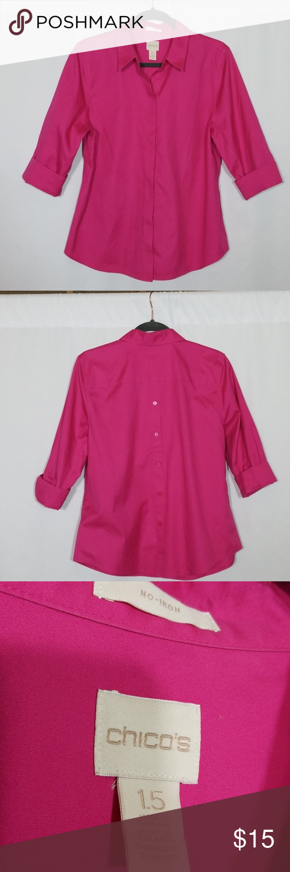 Chico's Button Down Top Size 1.5 Beautiful button down top with buttons in back for looks. #0509 Chico's Tops Button Down Shirts