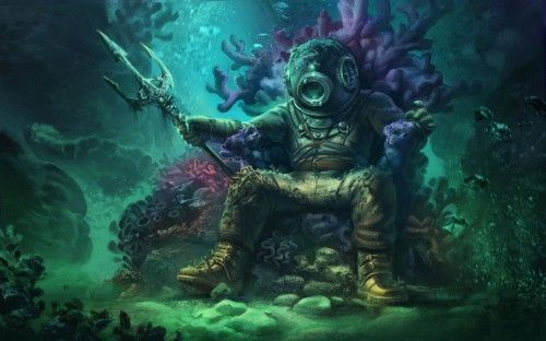 King of The Seas - Fantasy, Diver, Art, Creature, Fish, Ocean, Statue, Underwater, Throne, Suit