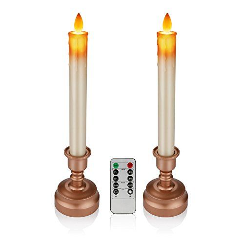 Pandaing 128 Taper Flameless Window Candles With Candlestick Holders Realistic Dancing Flame Remote Control An Window Candles Candlestick Holders Candlesticks