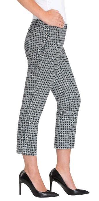 Hilary Radley Ladies' Crop Dress Pant - Blue/White Stretch Fabric, Back Pockets, Slit At Hem