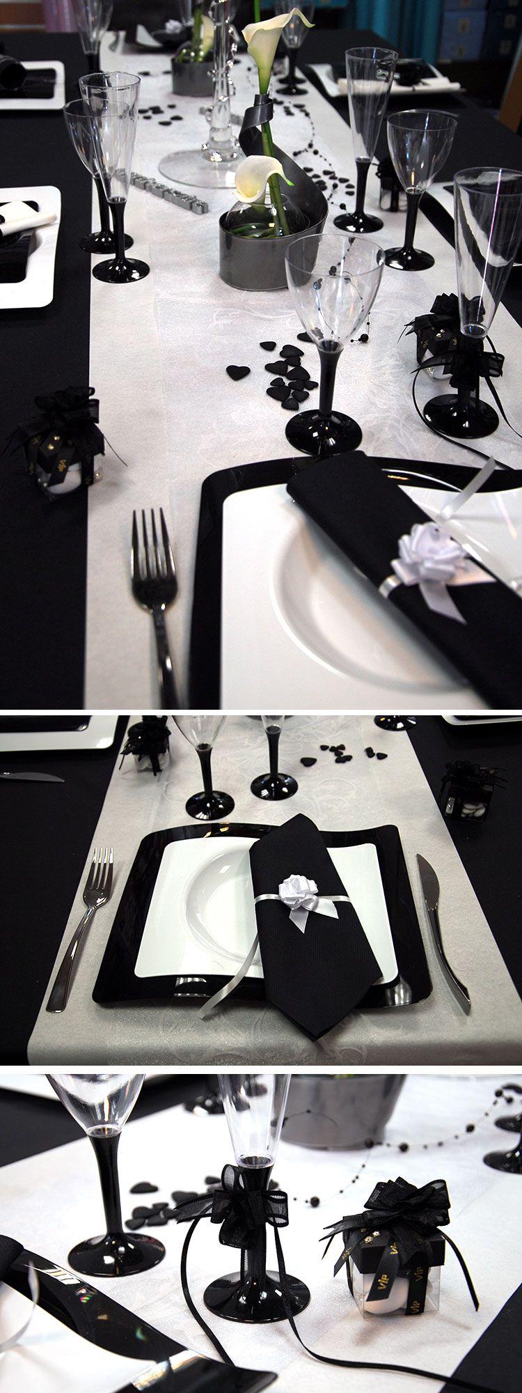 table mariage noir et blanc deco
