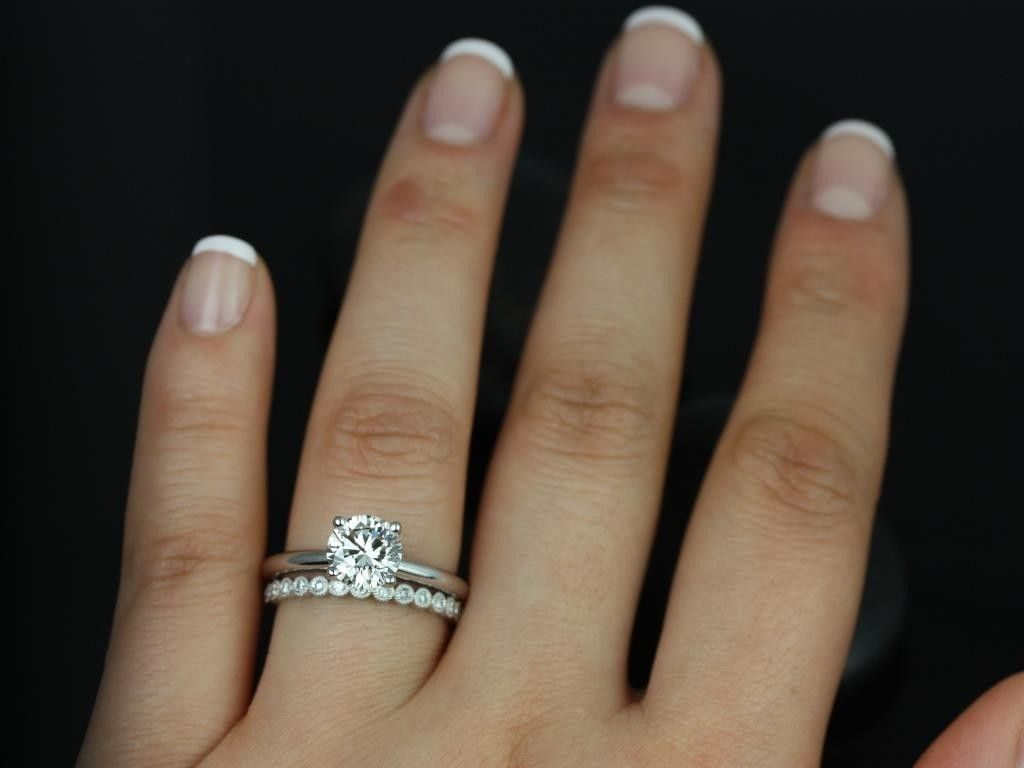 Alberta Pee Bubbles With Milgrain Round Fb Moissanite And Diamond Solitaire Wedding Set