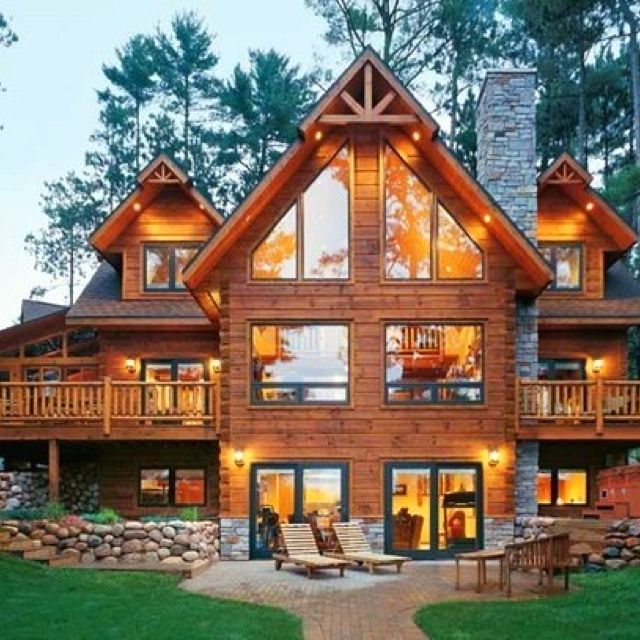 Log Home Exterior Ideas: Michael's Parents' House--obnoxiously Luxurious Log Cabin