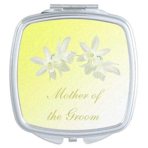 Yellow Floral Wedding Mother of the Groom Compact Mirror