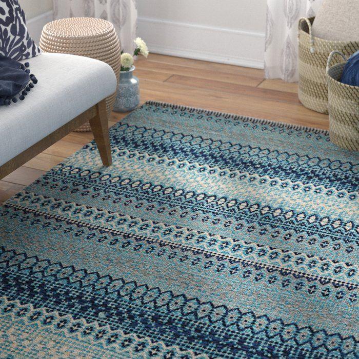 Saffron Handmade Kilim Cotton Blue Rug Turquoise rug