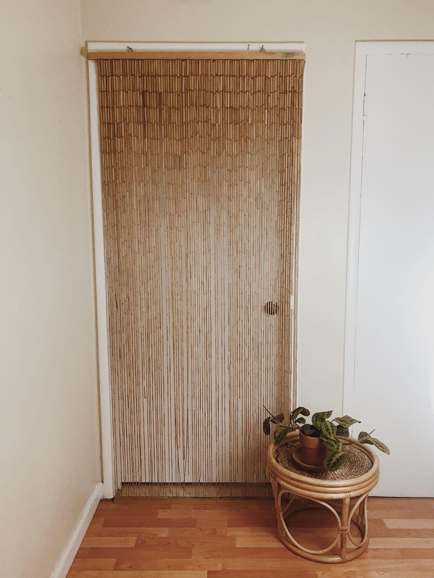 Bamboo Beaded Curtain Vintage 70s Beaded Curtain Beaded
